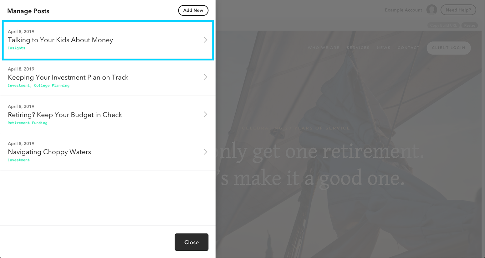 Adding categories to your blog post